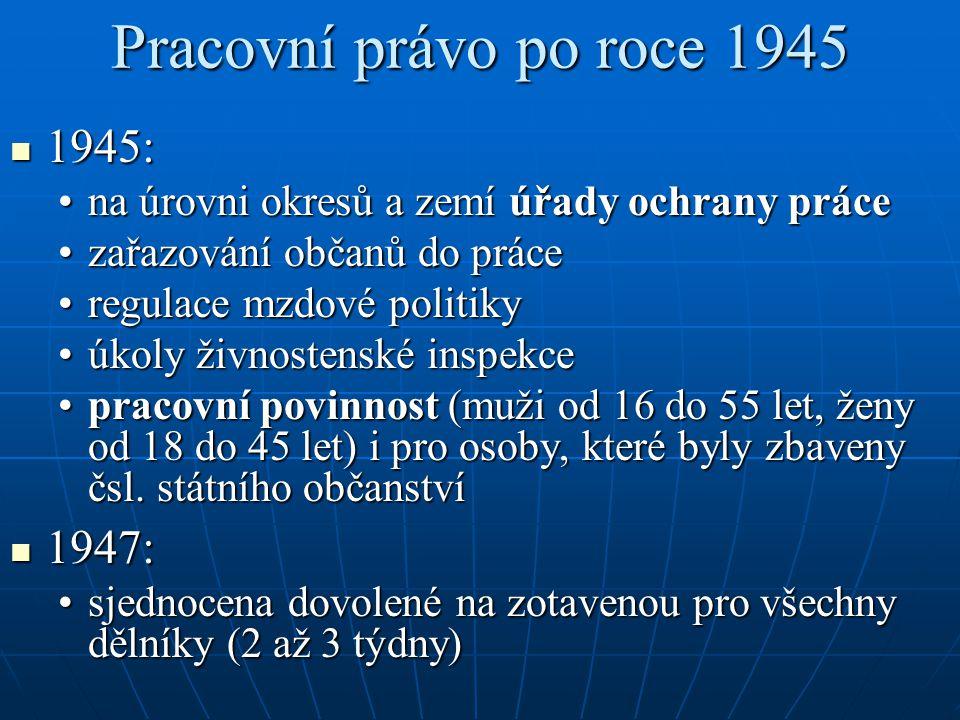 Pracovní právo po roce 1945 1945: 1945: na úrovni okresů a zemí úřady ochrany prácena úrovni okresů a zemí úřady ochrany práce zařazování občanů do pr