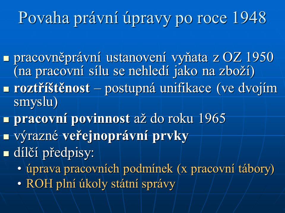 Povaha právní úpravy po roce 1948 pracovněprávní ustanovení vyňata z OZ 1950 (na pracovní sílu se nehledí jako na zboží) pracovněprávní ustanovení vyň