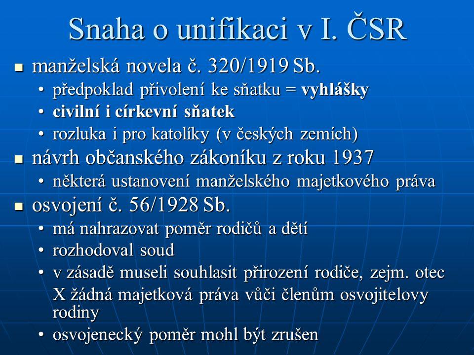 Snaha o unifikaci v I.ČSR manželská novela č. 320/1919 Sb.