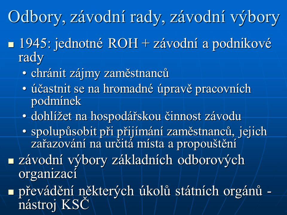 Odbory, závodní rady, závodní výbory 1945: jednotné ROH + závodní a podnikové rady 1945: jednotné ROH + závodní a podnikové rady chránit zájmy zaměstnancůchránit zájmy zaměstnanců účastnit se na hromadné úpravě pracovních podmínekúčastnit se na hromadné úpravě pracovních podmínek dohlížet na hospodářskou činnost závodudohlížet na hospodářskou činnost závodu spolupůsobit při přijímání zaměstnanců, jejich zařazování na určitá místa a propouštěníspolupůsobit při přijímání zaměstnanců, jejich zařazování na určitá místa a propouštění závodní výbory základních odborových organizací závodní výbory základních odborových organizací převádění některých úkolů státních orgánů - nástroj KSČ převádění některých úkolů státních orgánů - nástroj KSČ