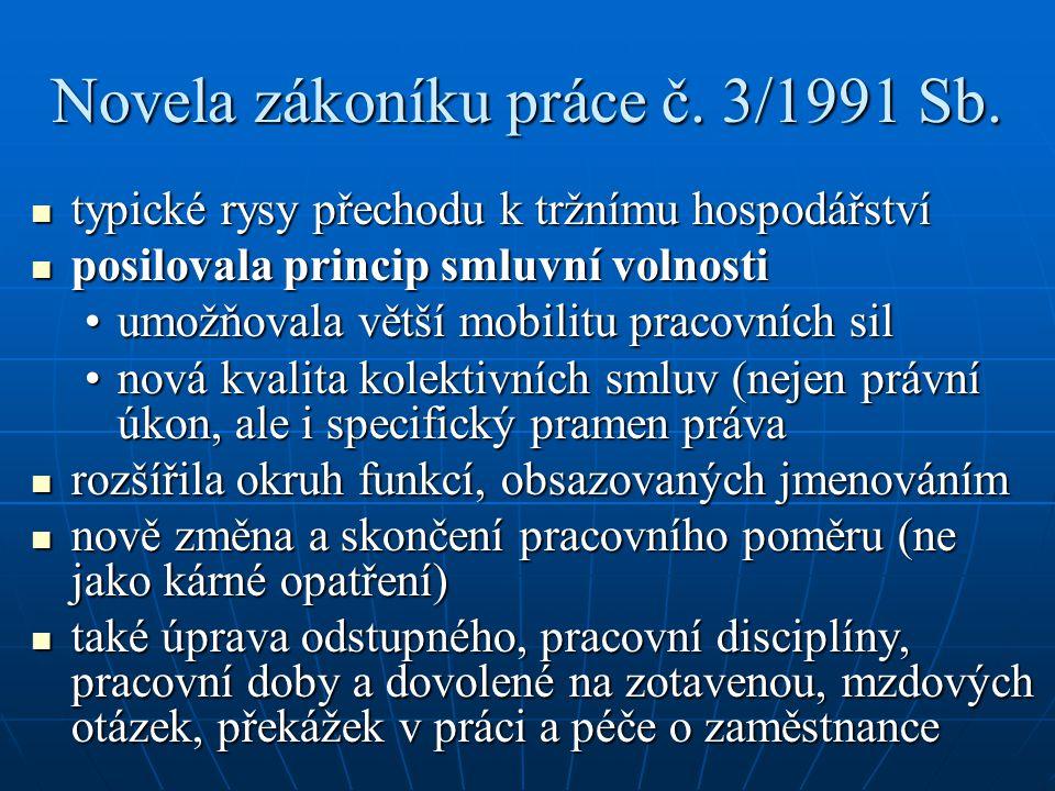 Novela zákoníku práce č. 3/1991 Sb. typické rysy přechodu k tržnímu hospodářství typické rysy přechodu k tržnímu hospodářství posilovala princip smluv
