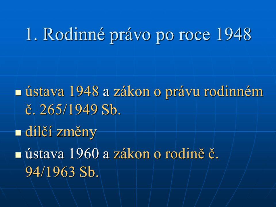 1.Rodinné právopo roce 1948 1. Rodinné právo po roce 1948 ústava 1948 a zákon o právu rodinném č.
