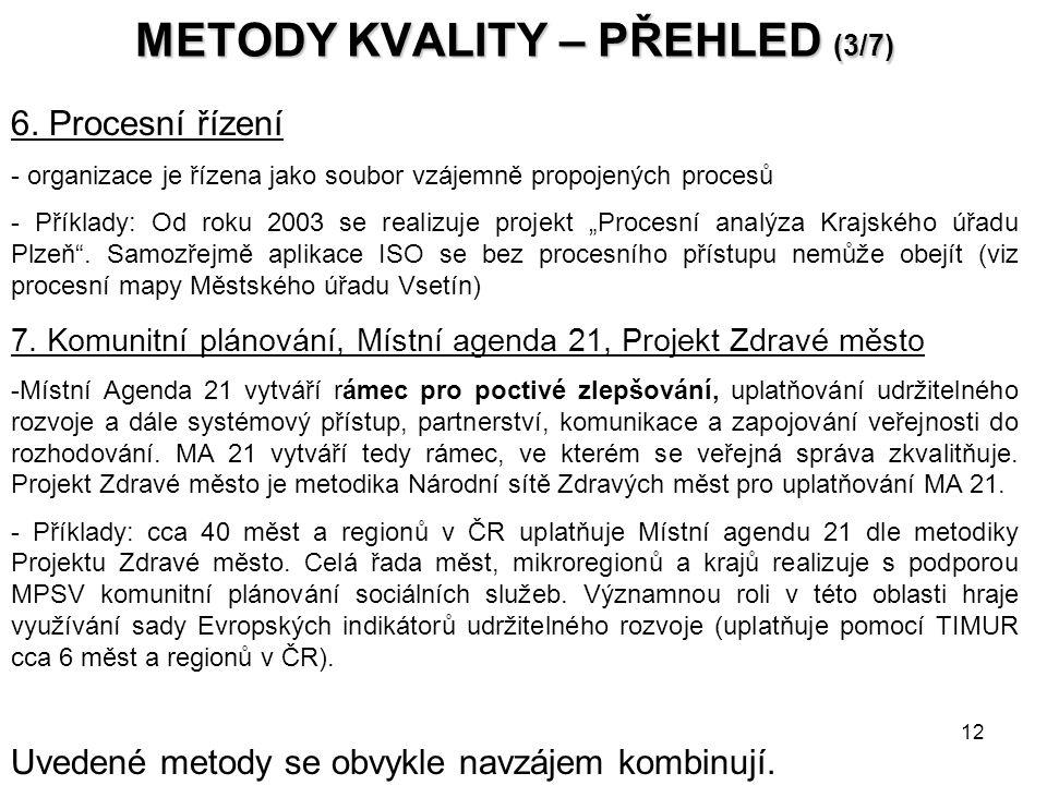 12 METODY KVALITY – PŘEHLED (3/7) 6.