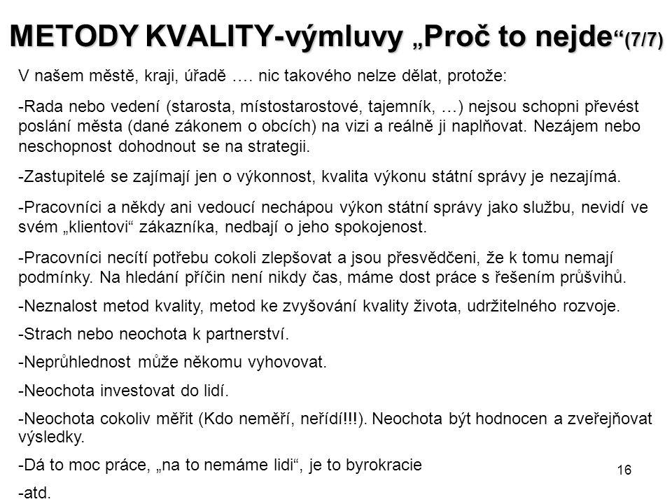 """16 METODY KVALITY- výmluvy """" Proč to nejde (7/7) V našem městě, kraji, úřadě …."""