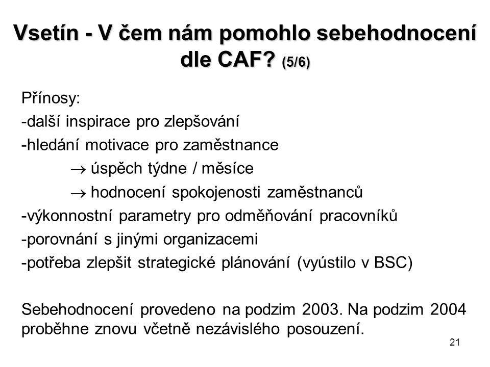 21 Vsetín - V čem nám pomohlo sebehodnocení dle CAF.