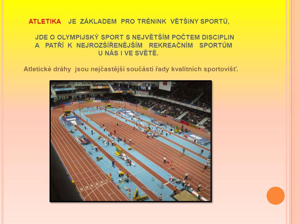 ATLETIKA - Atletické dráhy jsou v převážné většině tvořeny umělým pryžovým povrchem.