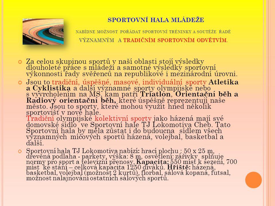 """SPORTOVIŠTĚ V CHEBU V Chebu jsou tyto sporty a """" dostupná sportoviště (orientační přehled)."""