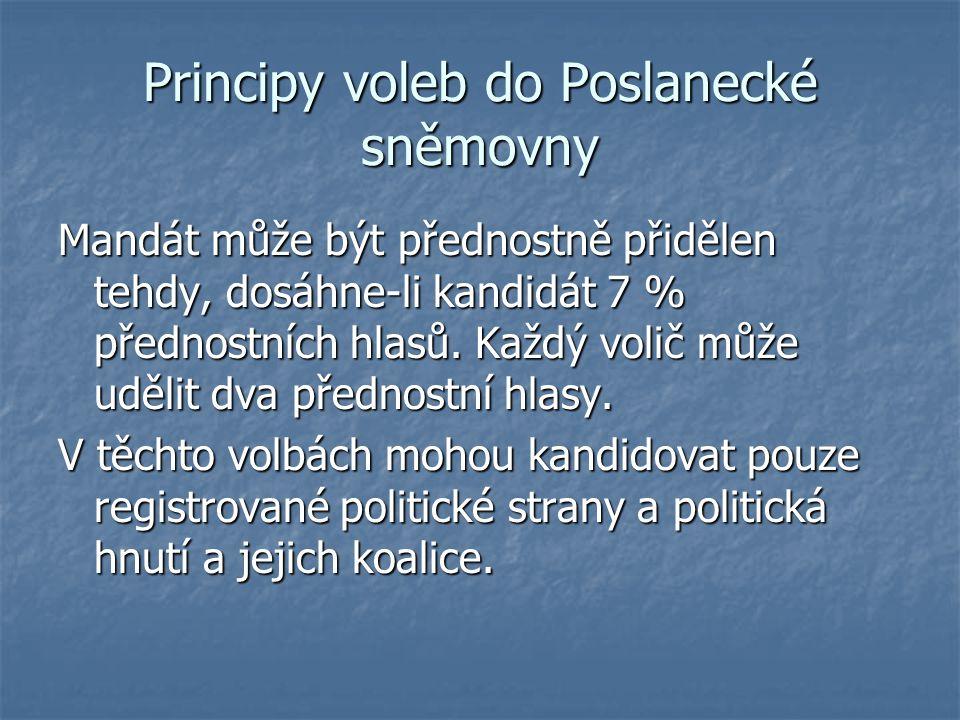 Principy voleb do Poslanecké sněmovny Mandát může být přednostně přidělen tehdy, dosáhne-li kandidát 7 % přednostních hlasů. Každý volič může udělit d