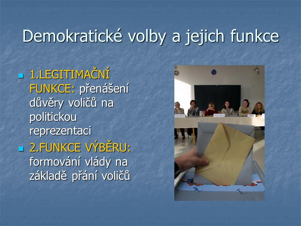 Demokratické volby a jejich funkce 1.LEGITIMAČNÍ FUNKCE: přenášení důvěry voličů na politickou reprezentaci 1.LEGITIMAČNÍ FUNKCE: přenášení důvěry voličů na politickou reprezentaci 2.FUNKCE VÝBĚRU: formování vlády na základě přání voličů 2.FUNKCE VÝBĚRU: formování vlády na základě přání voličů
