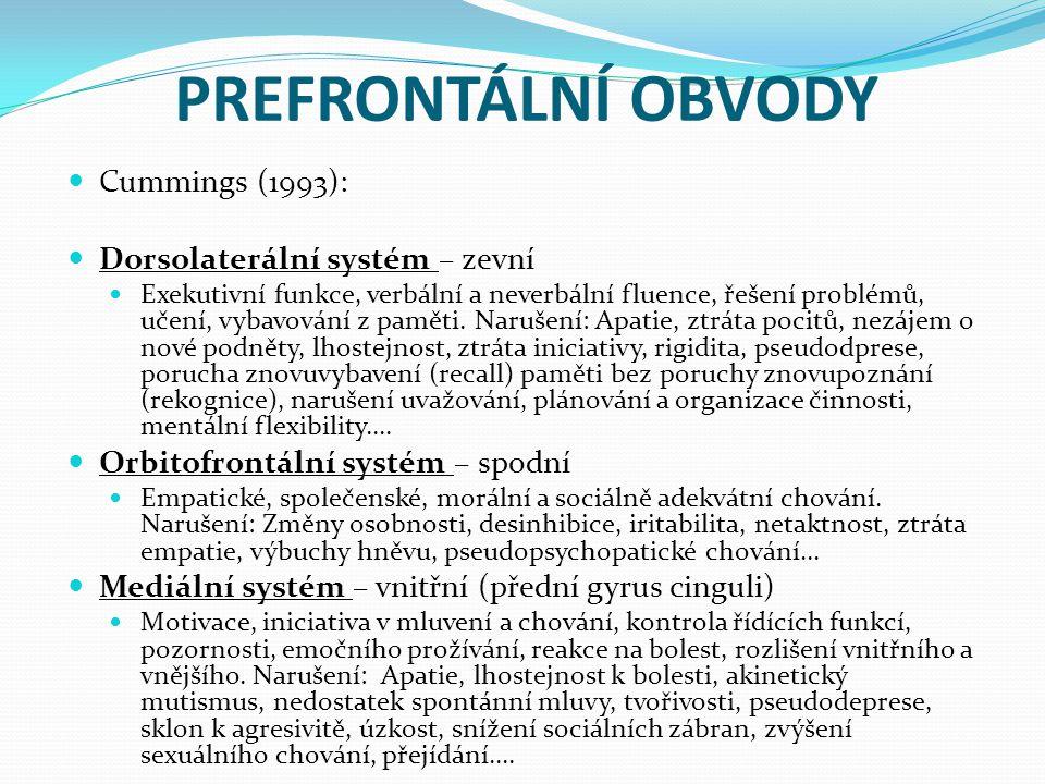 PREFRONTÁLNÍ OBVODY Cummings (1993): Dorsolaterální systém – zevní Exekutivní funkce, verbální a neverbální fluence, řešení problémů, učení, vybavování z paměti.