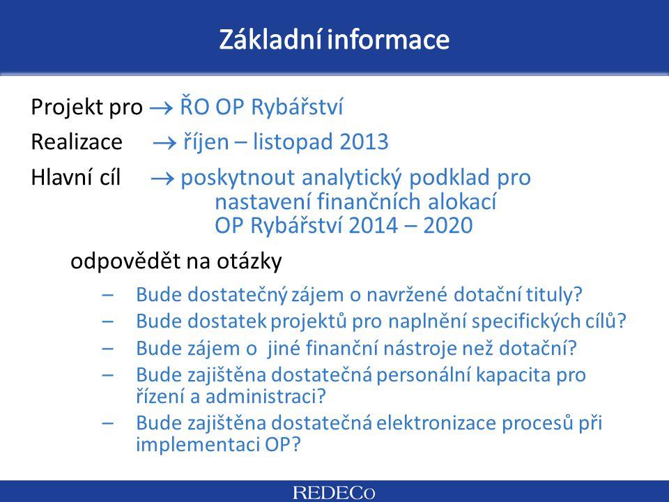 Projekt pro  ŘO OP Rybářství Realizace  říjen – listopad 2013 Hlavní cíl  poskytnout analytický podklad pro nastavení finančních alokací OP Rybářst