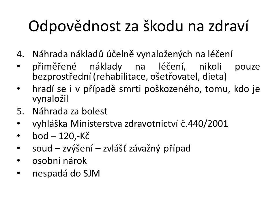 Odpovědnost za škodu na zdraví 6.Náhrada za ztížení společenského uplatnění omezení uplatnění ve společnosti Vyhláška Ministerstva zdravotnictví 440/2001 Sb.