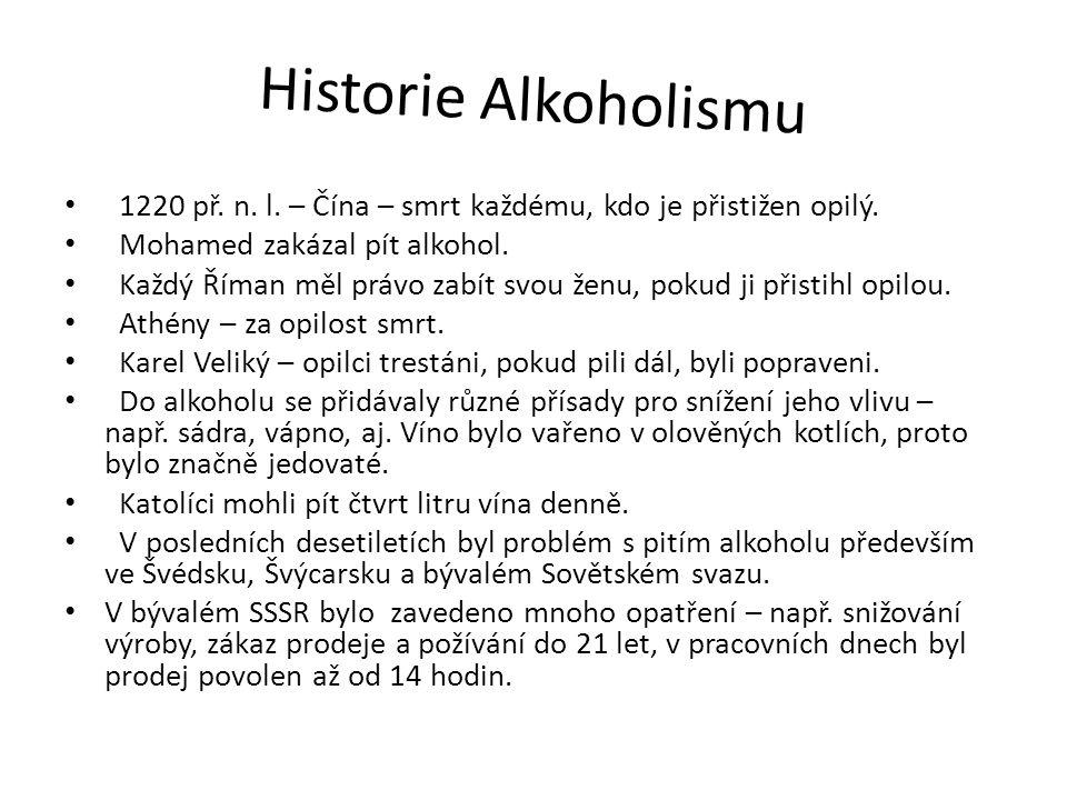 Historie Alkoholismu 1220 př. n. l. – Čína – smrt každému, kdo je přistižen opilý. Mohamed zakázal pít alkohol. Každý Říman měl právo zabít svou ženu,