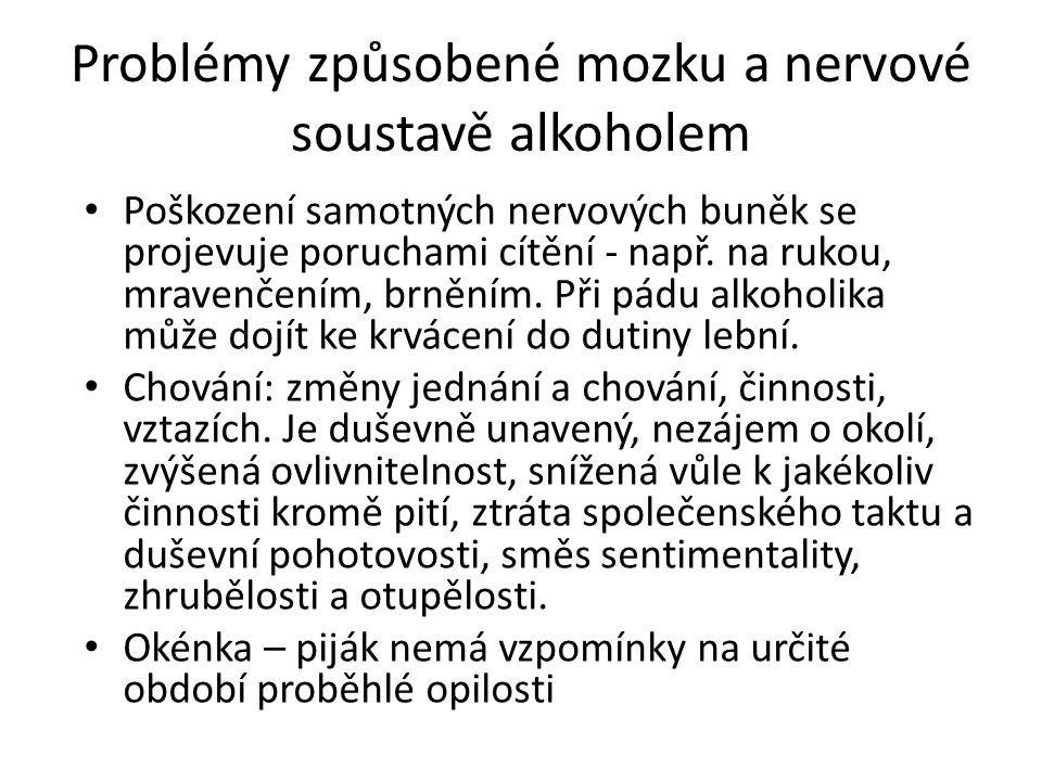 Problémy způsobené mozku a nervové soustavě alkoholem Poškození samotných nervových buněk se projevuje poruchami cítění - např. na rukou, mravenčením,