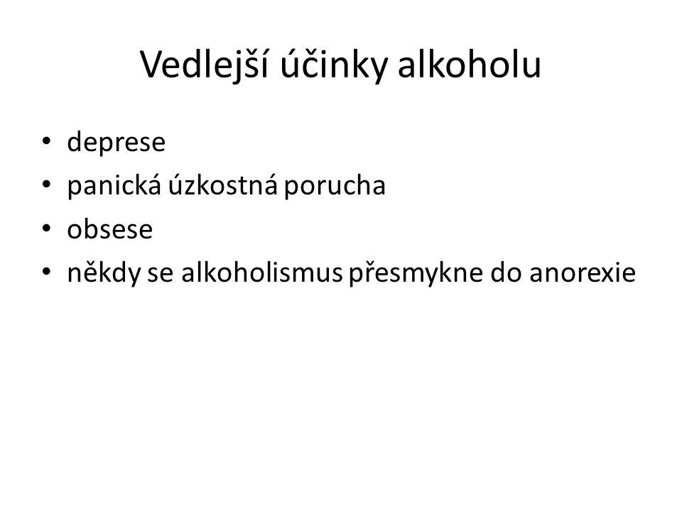 Vedlejší účinky alkoholu deprese panická úzkostná porucha obsese někdy se alkoholismus přesmykne do anorexie