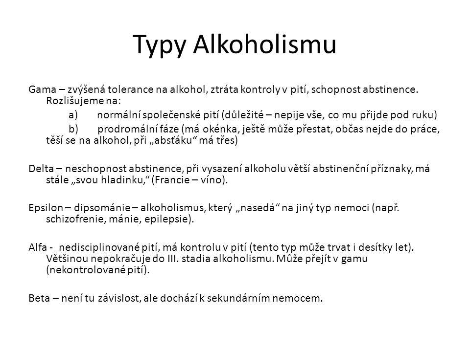 Typy Alkoholismu Gama – zvýšená tolerance na alkohol, ztráta kontroly v pití, schopnost abstinence. Rozlišujeme na: a) normální společenské pití (důle