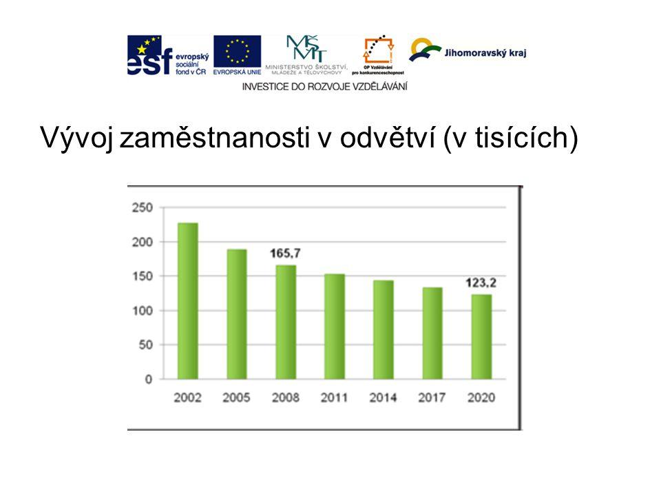 Vývoj zaměstnanosti v odvětví (v tisících)