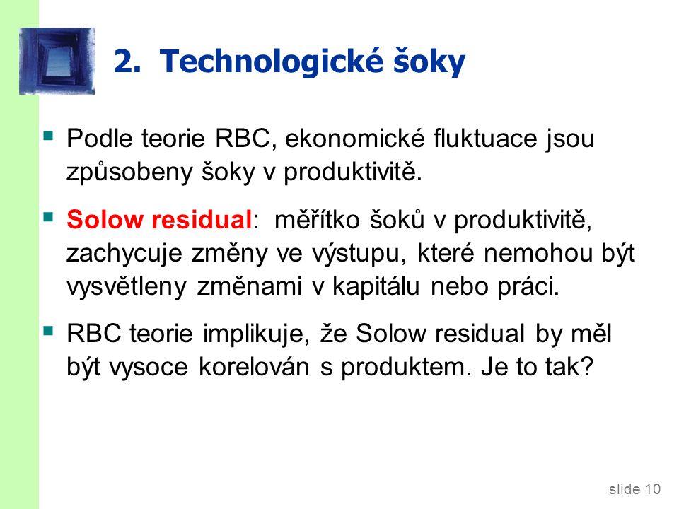 slide 10 2. Technologické šoky  Podle teorie RBC, ekonomické fluktuace jsou způsobeny šoky v produktivitě.  Solow residual: měřítko šoků v produktiv