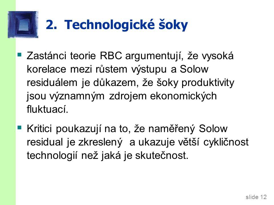 slide 12 2. Technologické šoky  Zastánci teorie RBC argumentují, že vysoká korelace mezi růstem výstupu a Solow residuálem je důkazem, že šoky produk