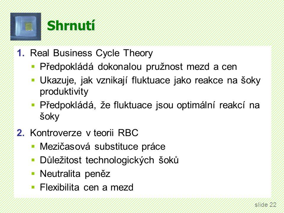 Shrnutí 1. Real Business Cycle Theory  Předpokládá dokonalou pružnost mezd a cen  Ukazuje, jak vznikají fluktuace jako reakce na šoky produktivity 