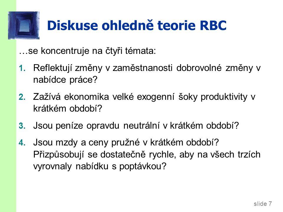 slide 7 Diskuse ohledně teorie RBC …se koncentruje na čtyři témata: 1. Reflektují změny v zaměstnanosti dobrovolné změny v nabídce práce? 2. Zažívá ek