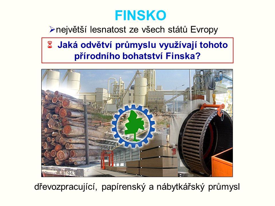 FINSKO  největší lesnatost ze všech států Evropy  Jaká odvětví průmyslu využívají tohoto přírodního bohatství Finska? dřevozpracující, papírenský a