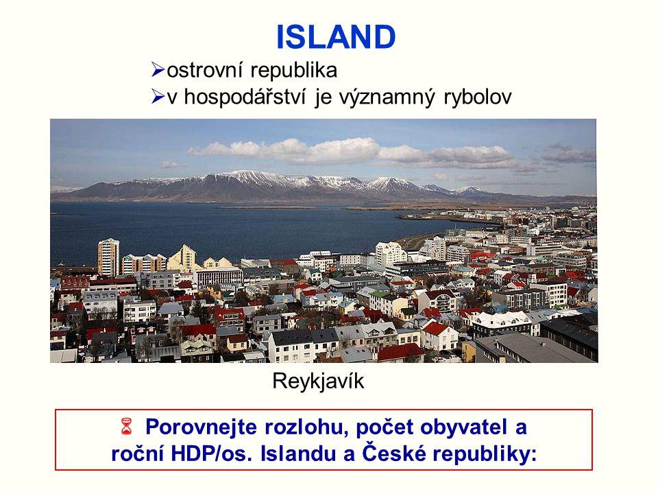 ISLAND Reykjavík  ostrovní republika  v hospodářství je významný rybolov  Porovnejte rozlohu, počet obyvatel a roční HDP/os. Islandu a České republ