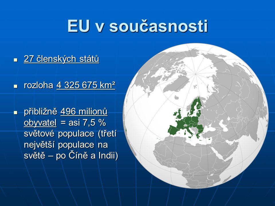 Symboly EU Motto Motto: Jednotná v rozmanitosti Hymna Hymna: Óda na radost vyjadřuje myšlenku sbratření národů – poslechposlech Evropská vlajka vlajka je symbolem evropské jednoty a identity kruh zlatých hvězd představuje solidaritu a soulad mezi evropskými národy modrá barva je ztělesněním naděje počet hvězd nemá žádnou souvislost s počtem členských států – číslo 12 je v mnoha evropských kulturách znakem úplnosti a dokonalosti znamená, že Evropané se sjednotili ve společném úsilí o mír a blahobyt a že množství různých kultur, tradic a jazyků je pro Evropu výhodou
