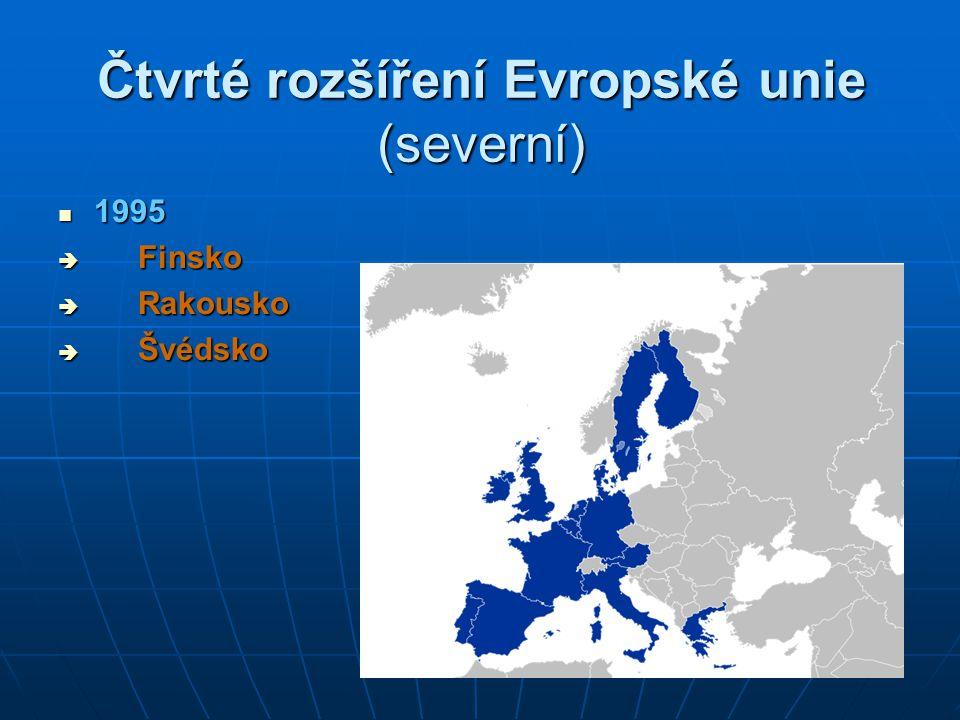 Páté rozšíření EU (východní) 2004 2004  10 zemí – 25 členských států:  Česká republika  Estonsko  Kypr  Litva  Lotyšsko  Maďarsko  Malta  Polsko  Slovensko  Slovinsko