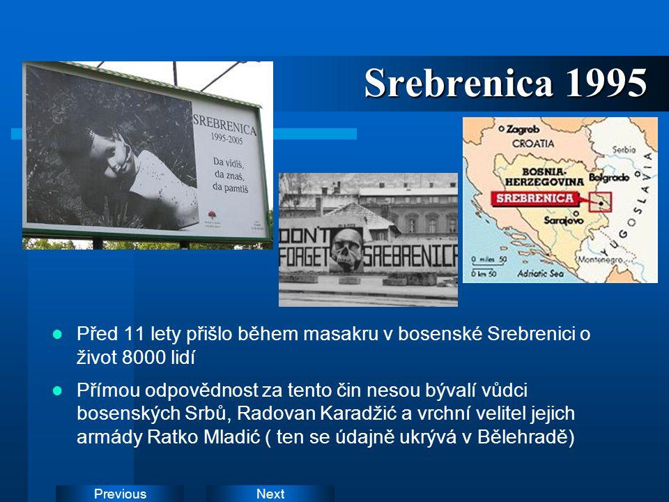 NextPrevious Srebrenica 1995 Před 11 lety přišlo během masakru v bosenské Srebrenici o život 8000 lidí Přímou odpovědnost za tento čin nesou bývalí vů