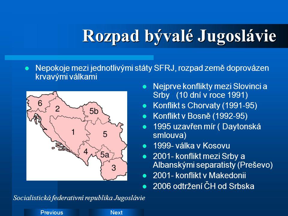 NextPrevious Rozpad bývalé Jugoslávie Nepokoje mezi jednotlivými státy SFRJ, rozpad země doprovázen krvavými válkami Nejprve konflikty mezi Slovinci a
