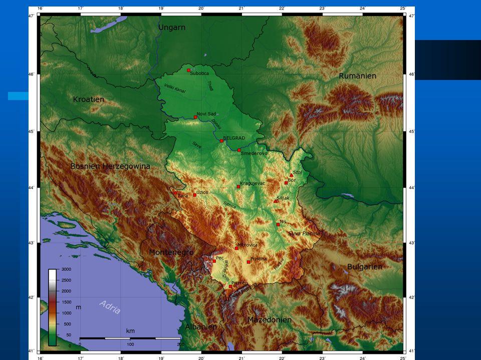 NextPrevious Přírodní podmínky Na severu se nachází Panonská nížina, směrem na jih se terén mění v hornatý nejvyšší bod je Đaravica (2656m) v Kosovu řeky: Dunaj ( nejdelší), Sáva  soutok v Bělehradě podnebí : mírné, na jihu subtropické; kontinentální Vyskytuje se zde dnes už téměř vzácný medvěd hnědý Đaravica, nejvyšší vrchol