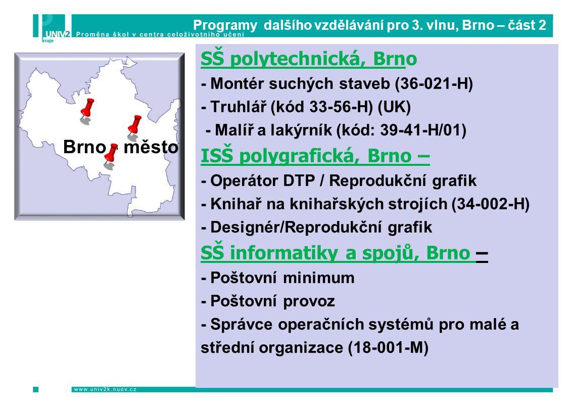 Programy dalšího vzdělávání pro 3. vlnu, Brno – část 2 SŠ polytechnická, Brno - Montér suchých staveb (36-021-H) - Truhlář (kód 33-56-H) (UK) - Malíř