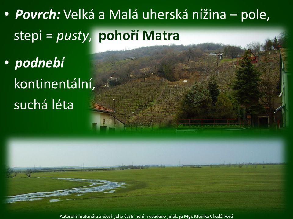 Povrch: Velká a Malá uherská nížina – pole, stepi = pusty, pohoří Matra podnebí kontinentální, suchá léta Autorem materiálu a všech jeho částí, není-l