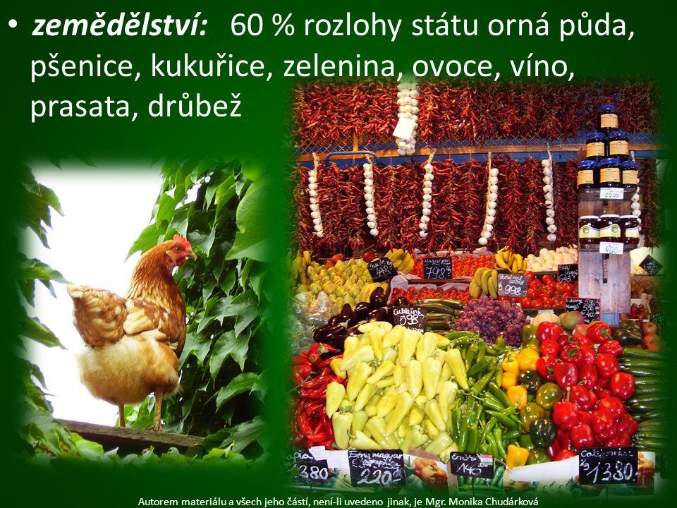 zemědělství: 60 % rozlohy státu orná půda, pšenice, kukuřice, zelenina, ovoce, víno, prasata, drůbež Autorem materiálu a všech jeho částí, není-li uve