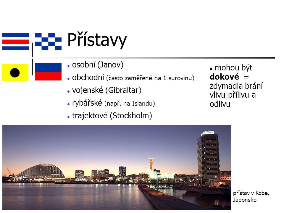 Přístavy osobní (Janov) obchodní (často zaměřené na 1 surovinu) vojenské (Gibraltar) rybářské (např.