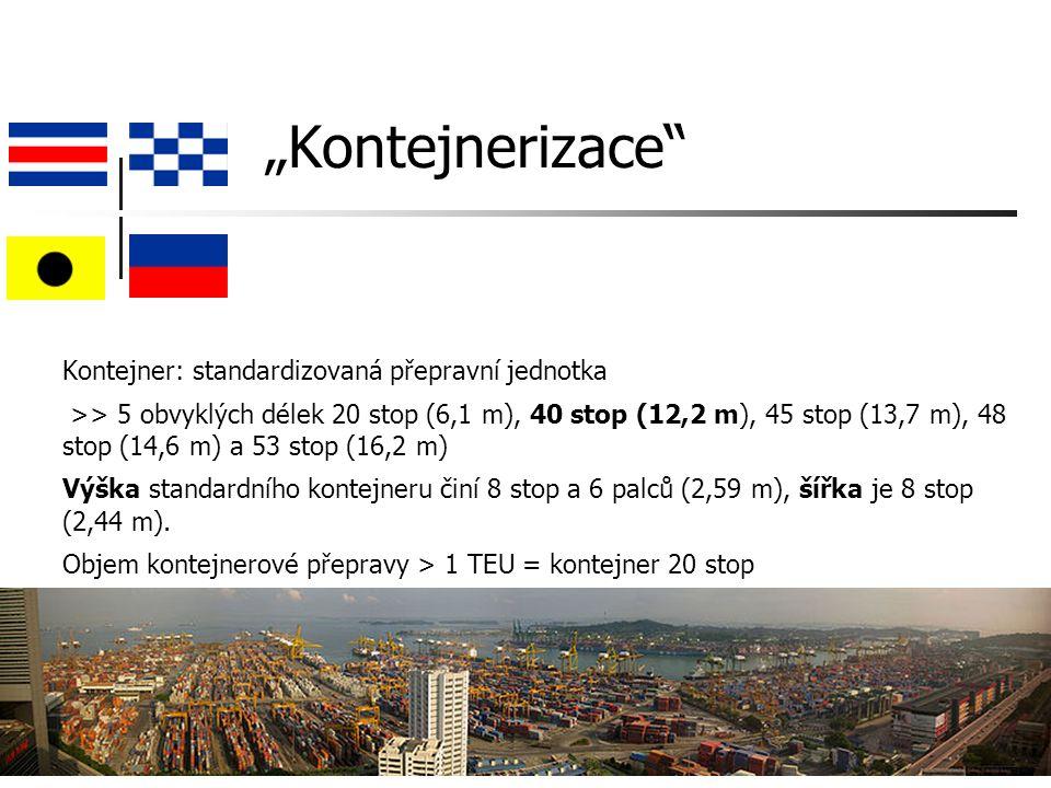 """""""Kontejnerizace Kontejner: standardizovaná přepravní jednotka >> 5 obvyklých délek 20 stop (6,1 m), 40 stop (12,2 m), 45 stop (13,7 m), 48 stop (14,6 m) a 53 stop (16,2 m) Výška standardního kontejneru činí 8 stop a 6 palců (2,59 m), šířka je 8 stop (2,44 m)."""