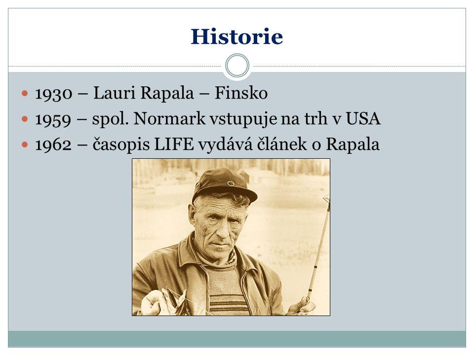 Historie 1930 – Lauri Rapala – Finsko 1959 – spol. Normark vstupuje na trh v USA 1962 – časopis LIFE vydává článek o Rapala