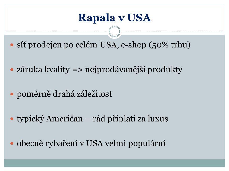Rapala v USA síť prodejen po celém USA, e-shop (50% trhu) záruka kvality => nejprodávanější produkty poměrně drahá záležitost typický Američan – rád p