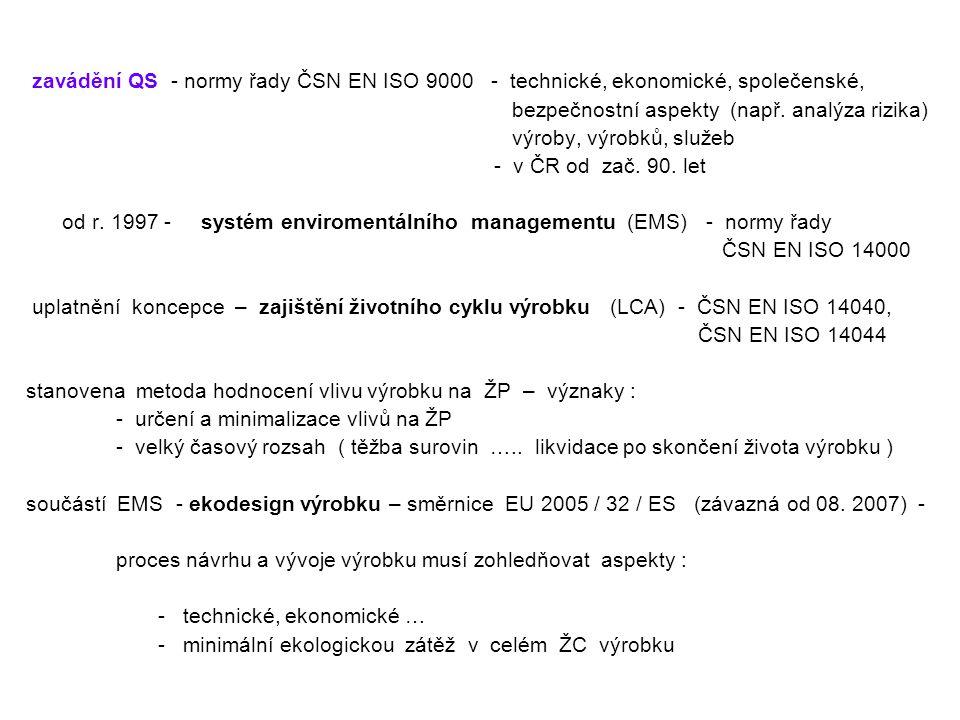 zavádění QS - normy řady ČSN EN ISO 9000 - technické, ekonomické, společenské, bezpečnostní aspekty (např. analýza rizika) výroby, výrobků, služeb - v