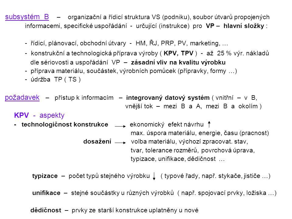 subsystém B – organizační a řídicí struktura VS (podniku), soubor útvarů propojených informacemi, specifické uspořádání - určující (instrukce) pro VP