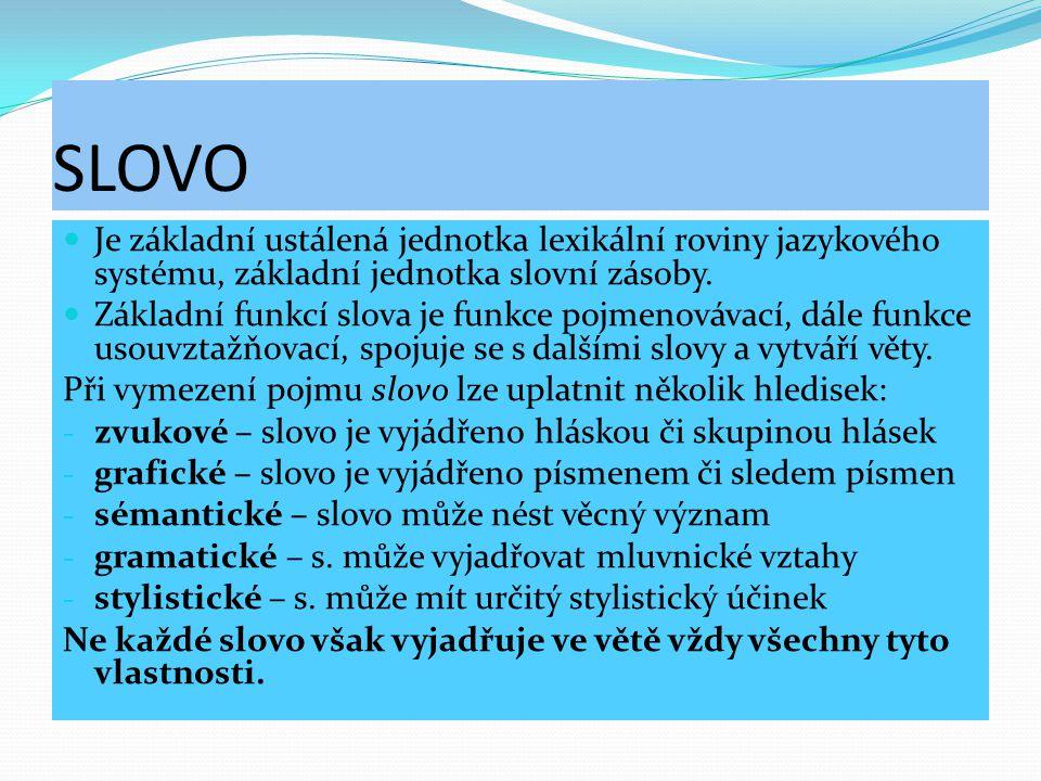 SLOVO Je základní ustálená jednotka lexikální roviny jazykového systému, základní jednotka slovní zásoby. Základní funkcí slova je funkce pojmenovávac