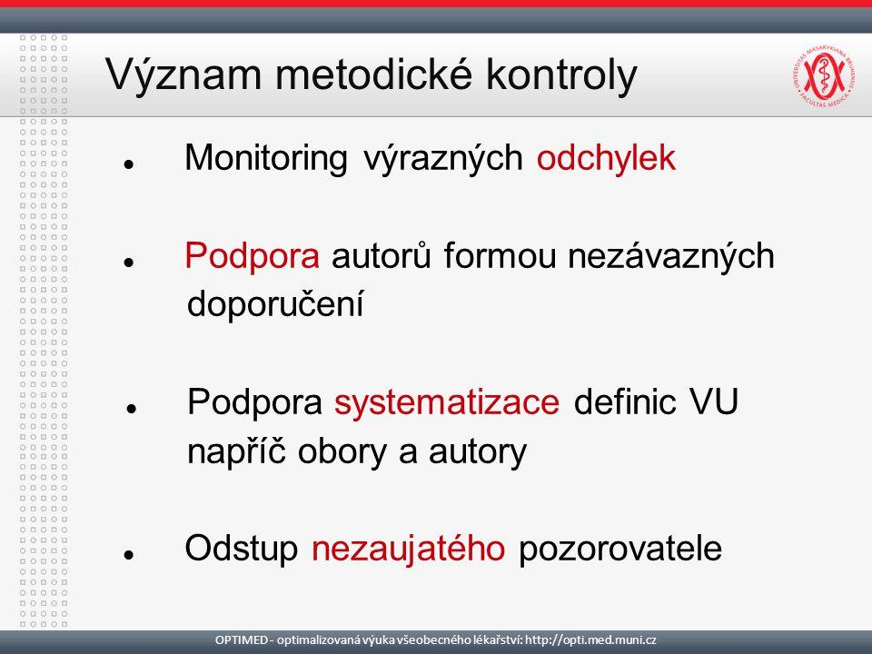 Význam metodické kontroly Monitoring výrazných odchylek Podpora autorů formou nezávazných doporučení Podpora systematizace definic VU napříč obory a a