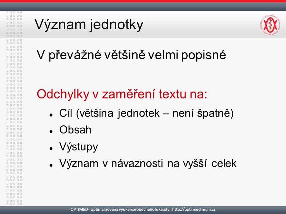 Význam jednotky V převážné většině velmi popisné Odchylky v zaměření textu na: Cíl (většina jednotek – není špatně) Obsah Výstupy Význam v návaznosti na vyšší celek OPTIMED - optimalizovaná výuka všeobecného lékařství: http://opti.med.muni.cz