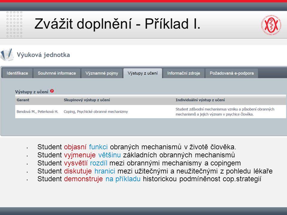 Zvážit doplnění - Příklad I. Student objasní funkci obraných mechanismů v životě člověka.