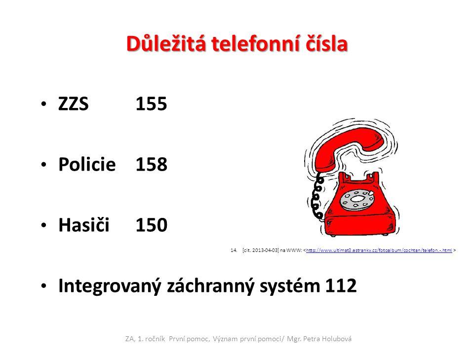 Důležitá telefonní čísla ZZS155 Policie158 Hasiči150 Integrovaný záchranný systém112 ZA, 1. ročník První pomoc, Význam první pomoci/ Mgr. Petra Holubo