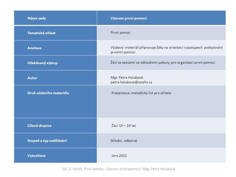 Název sadyVýznam první pomoci Tematická oblast První pomoc Anotace Výukový materiál připravuje žáky na orientaci v postupech poskytování prvními pomoc