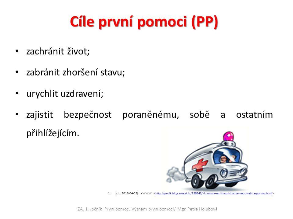 Rozdělení PP Laická PP ZA, 1.ročník První pomoc, Význam první pomoci/ Mgr.