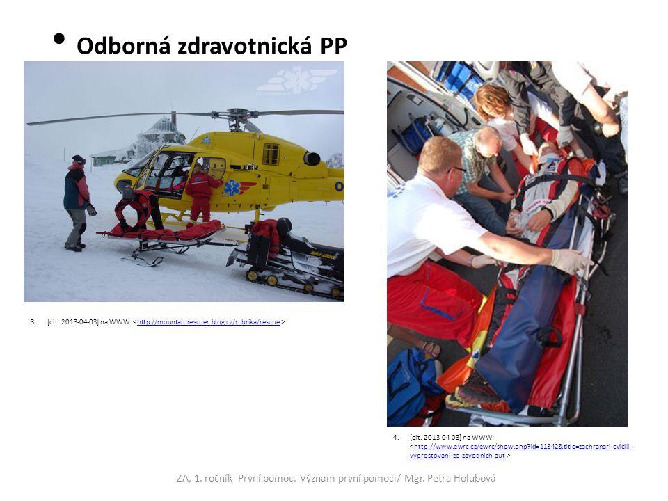 Odborná zdravotnická PP - předlékařská - lékařská ZA, 1. ročník První pomoc, Význam první pomoci/ Mgr. Petra Holubová 3.[cit. 2013-04-03] na WWW: http