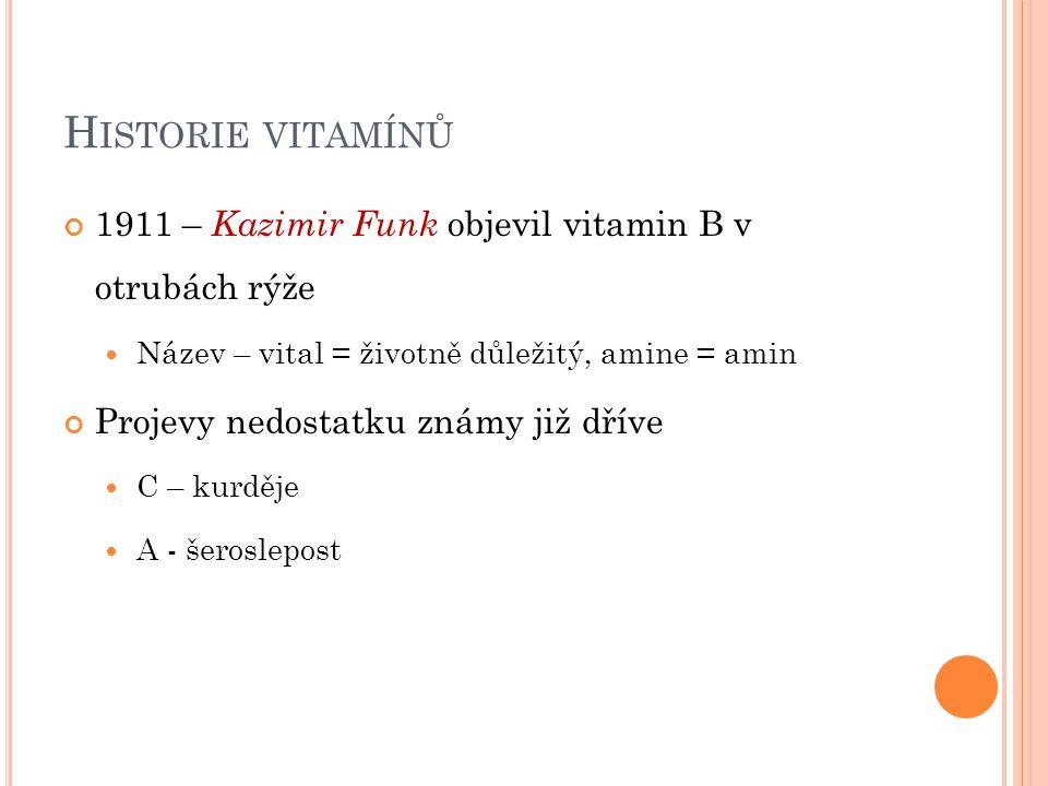 H ISTORIE VITAMÍNŮ 1911 – Kazimir Funk objevil vitamin B v otrubách rýže Název – vital = životně důležitý, amine = amin Projevy nedostatku známy již d